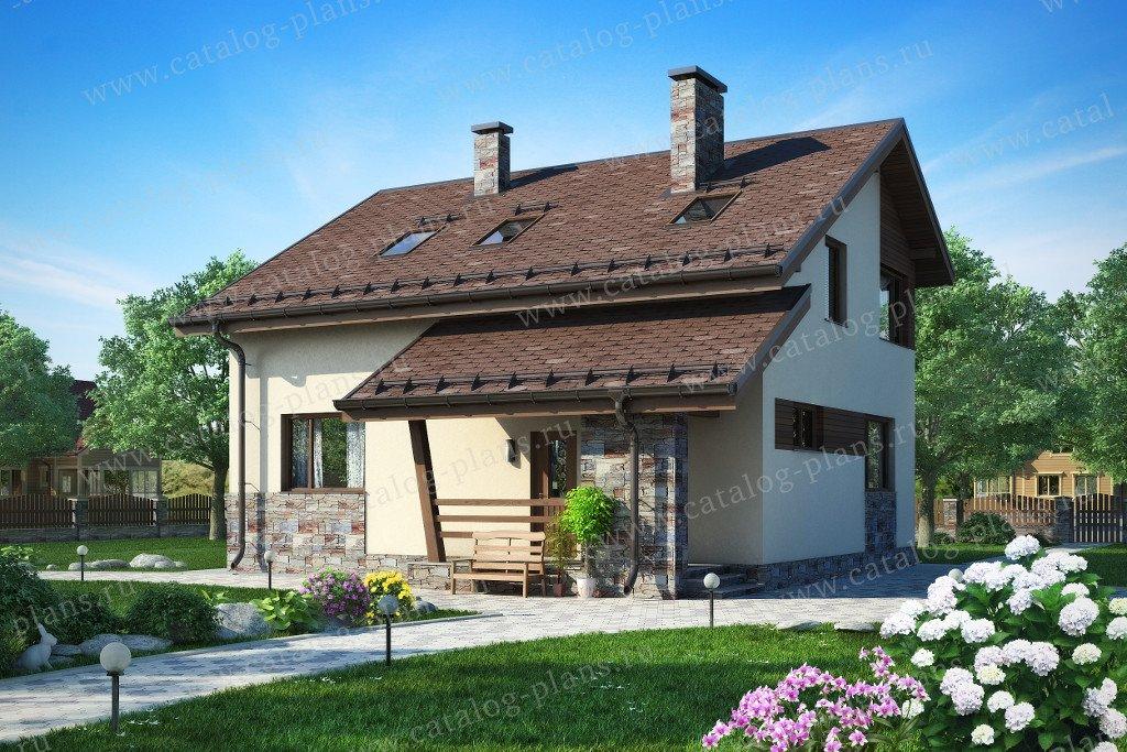 Проект жилой дом #60-15 материал - газобетон, стиль современный