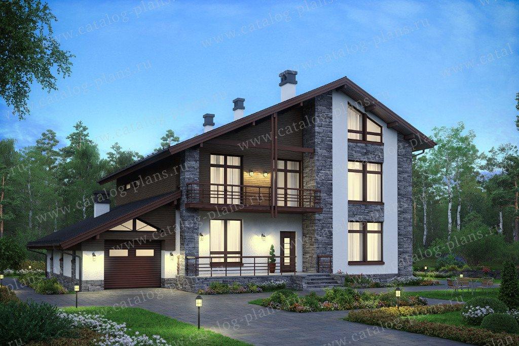 Проект жилой дом #59-96K материал - кирпич, стиль скандинавский