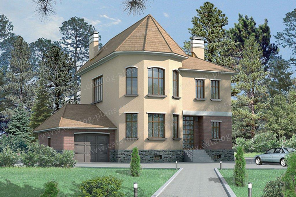 Проект жилой дом #32-25 материал - кирпич, стиль итальянский