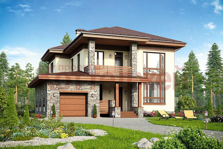 Проект двухэтажного кирпичного дома 59-93k в современном сти.