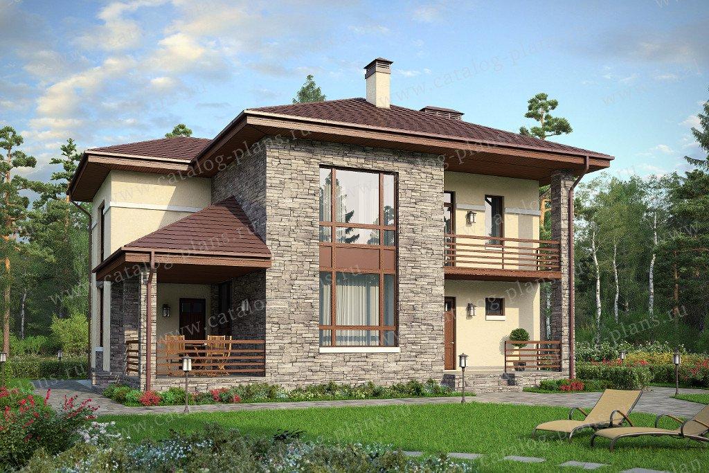 Проект жилой дом #59-84K материал - кирпич, стиль современный
