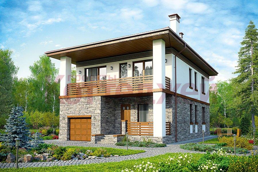 Проект жилой дом #59-90K материал - кирпич, стиль современный