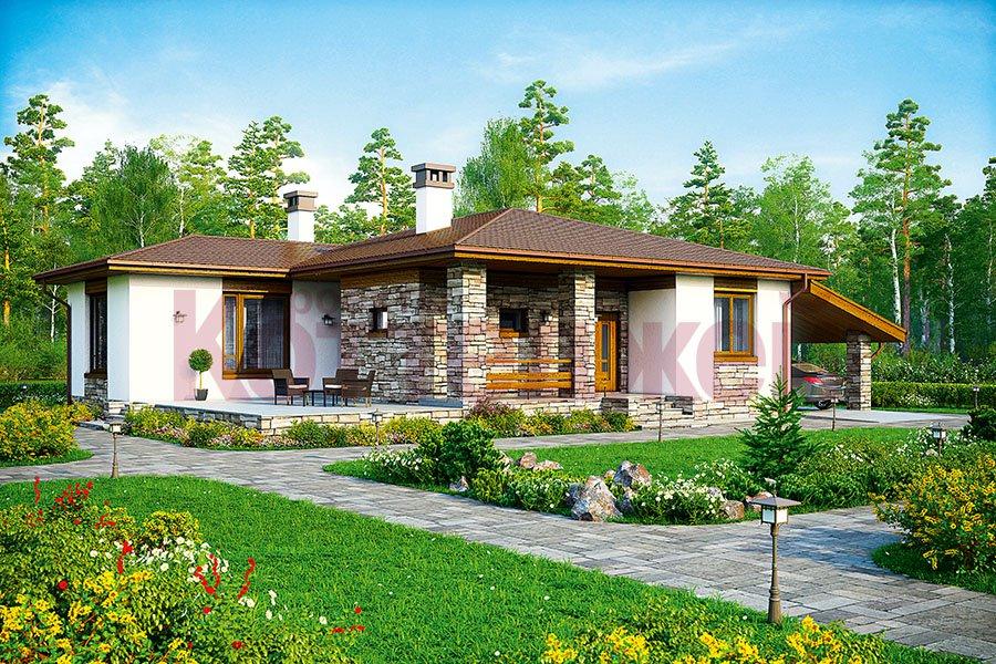 Проект жилой дом #59-87K материал - кирпич, стиль райт