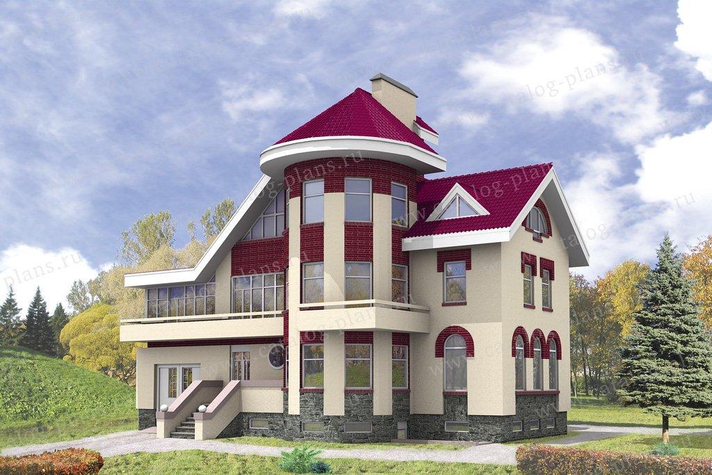 Проект жилой дом #32-27 материал - кирпич, стиль средневековый