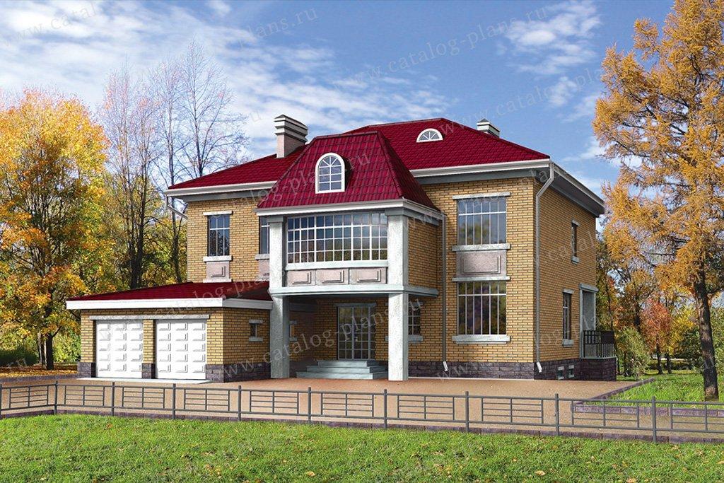 Проект жилой дом #32-22 материал - кирпич, стиль американский