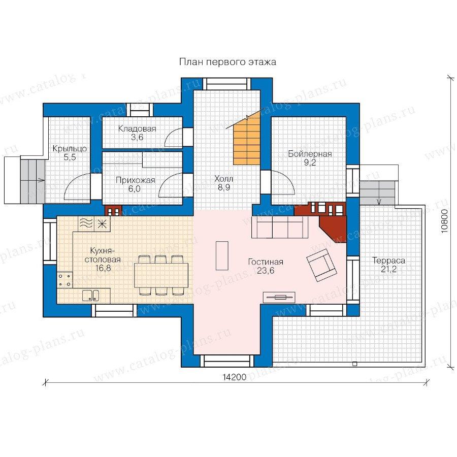 План 1-этажа проекта 58-39K
