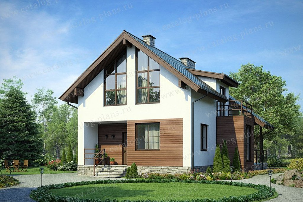 Проект жилой дом #58-39K материал - кирпич, стиль хай-тек