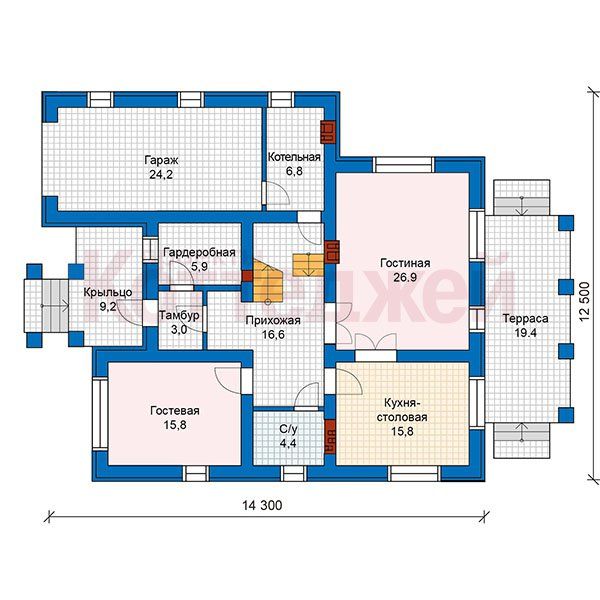 План 1-этажа проекта 59-93