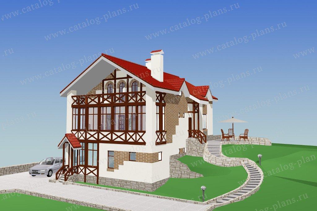 Проект жилой дом #32-52 материал - кирпич, стиль фахверк