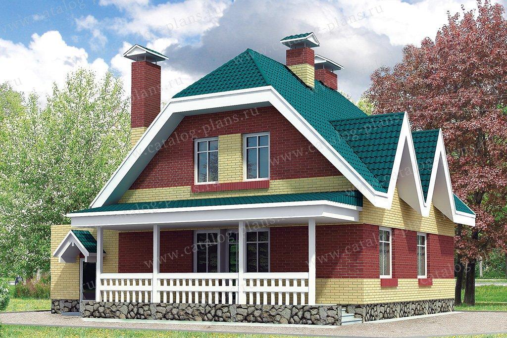 Проект жилой дом #32-84 материал - кирпич, стиль европейский