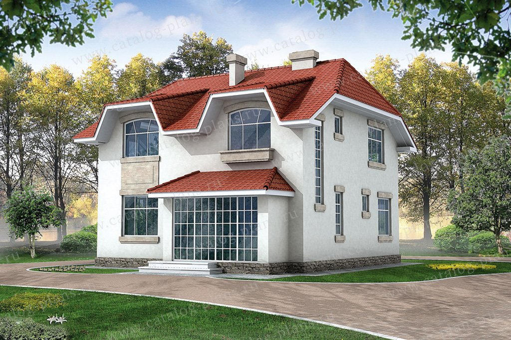 Проект жилой дом #32-35 материал - кирпич, стиль средневековый