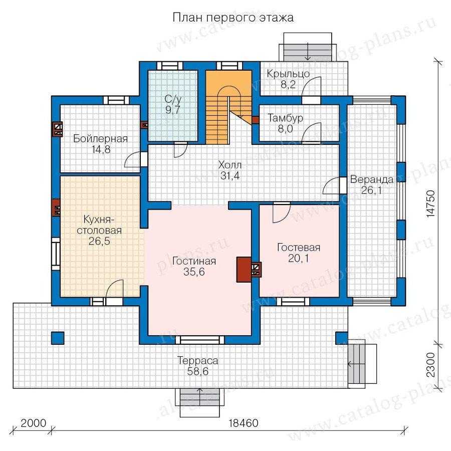 План 1-этажа проекта 58-02K