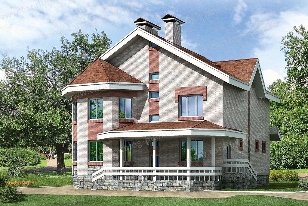 Проект жилой дом #32-86 материал - кирпич, стиль американский