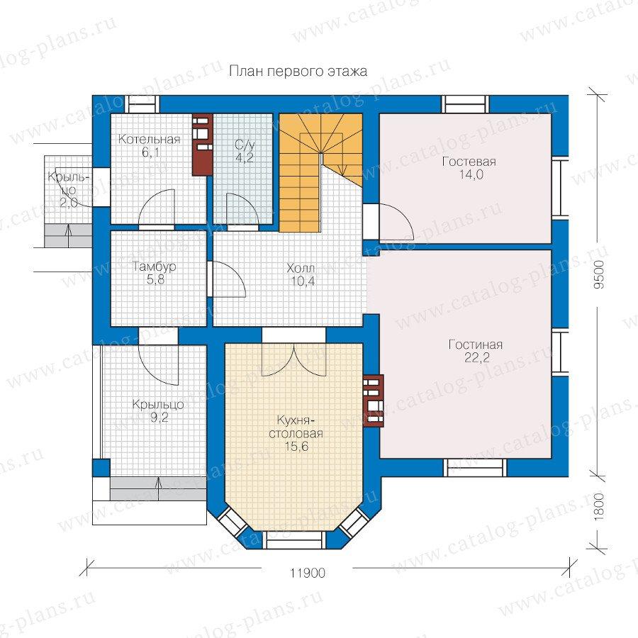 План 1-этажа проекта 40-12