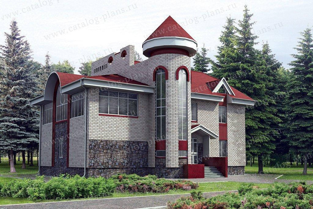 Проект жилой дом #32-74 материал - кирпич, стиль средневековый