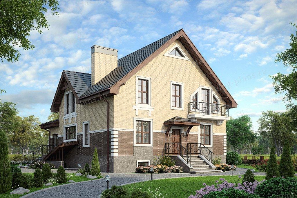 Проект жилой дом #40-20 материал - кирпич, стиль европейский