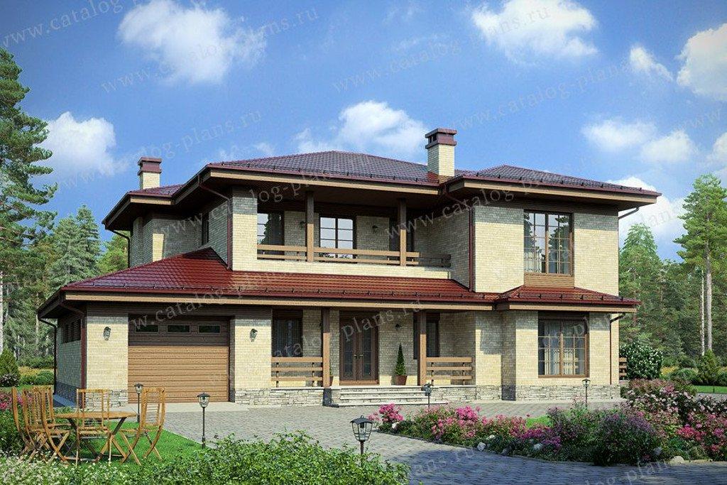 Проект жилой дом #58-10KL материал - кирпич, стиль в стиле Райта