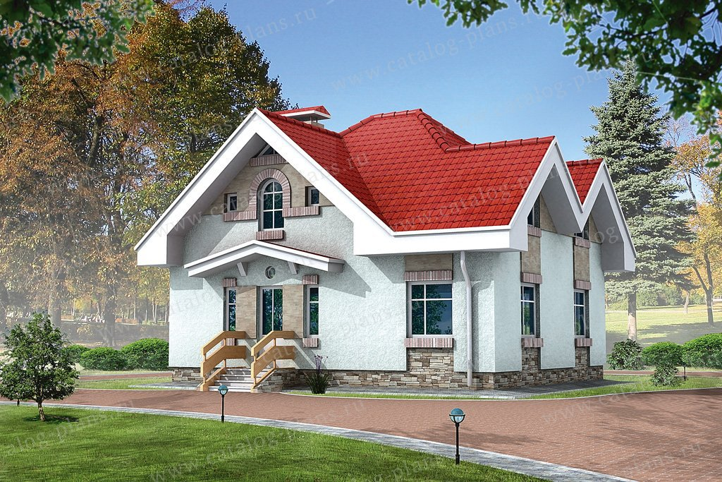Проект жилой дом #32-32 материал - кирпич, стиль европейский
