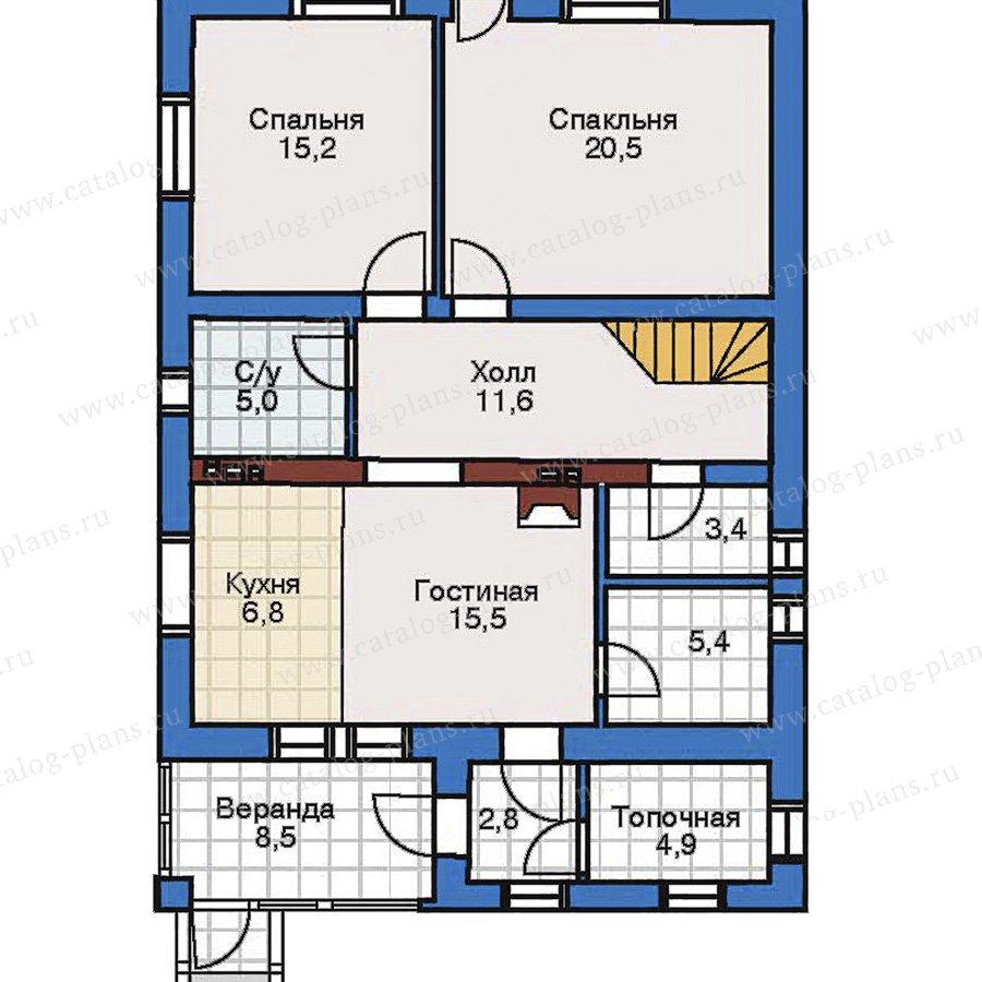 План 1-этажа проекта 32-52