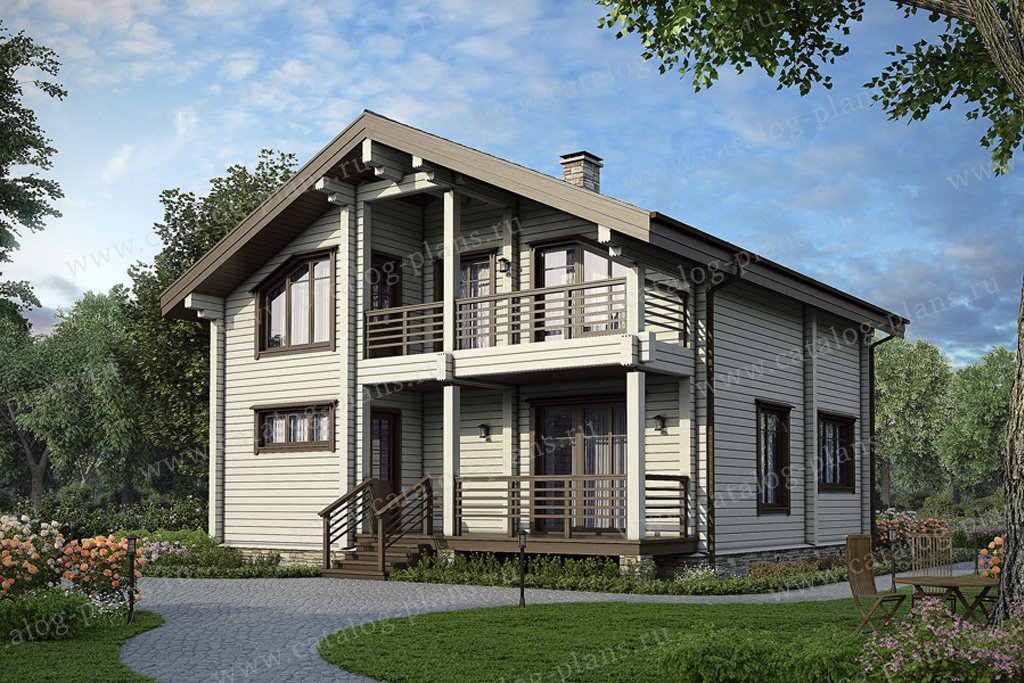 Проект жилой дом #12-39 материал - дерево, стиль скандинавский