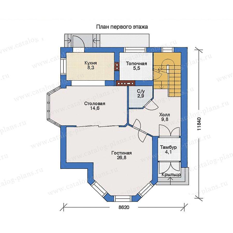 План 1-этажа проекта 32-75