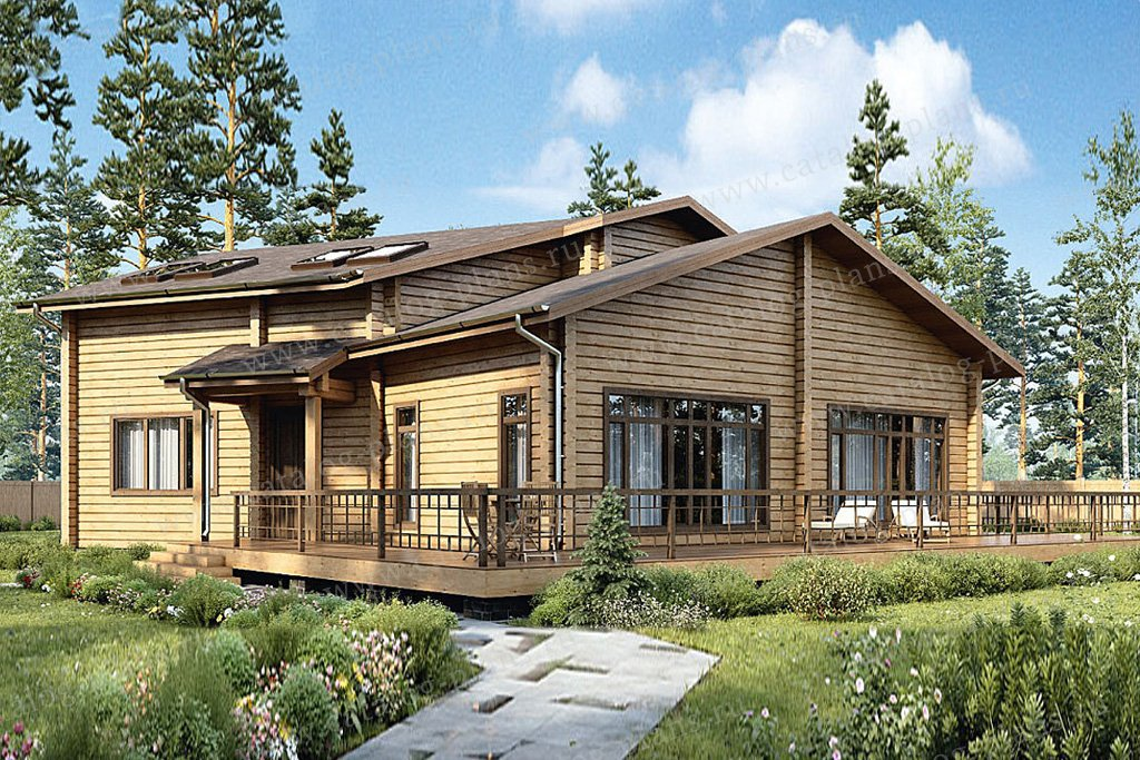 Проект жилой дом #12-54 материал - дерево, стиль шведский