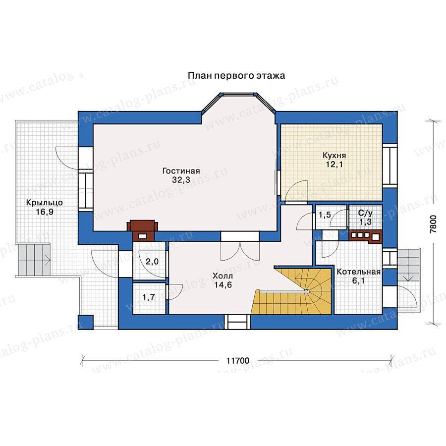 План 1-этажа проекта 32-68