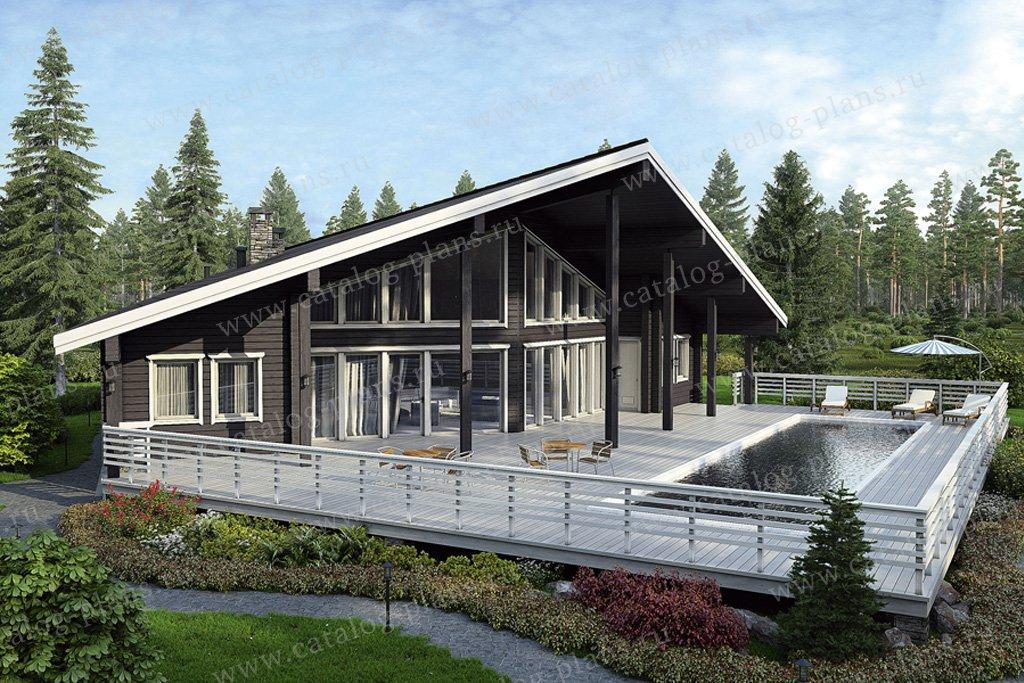 Проект баня #12-55 материал - дерево, стиль современный