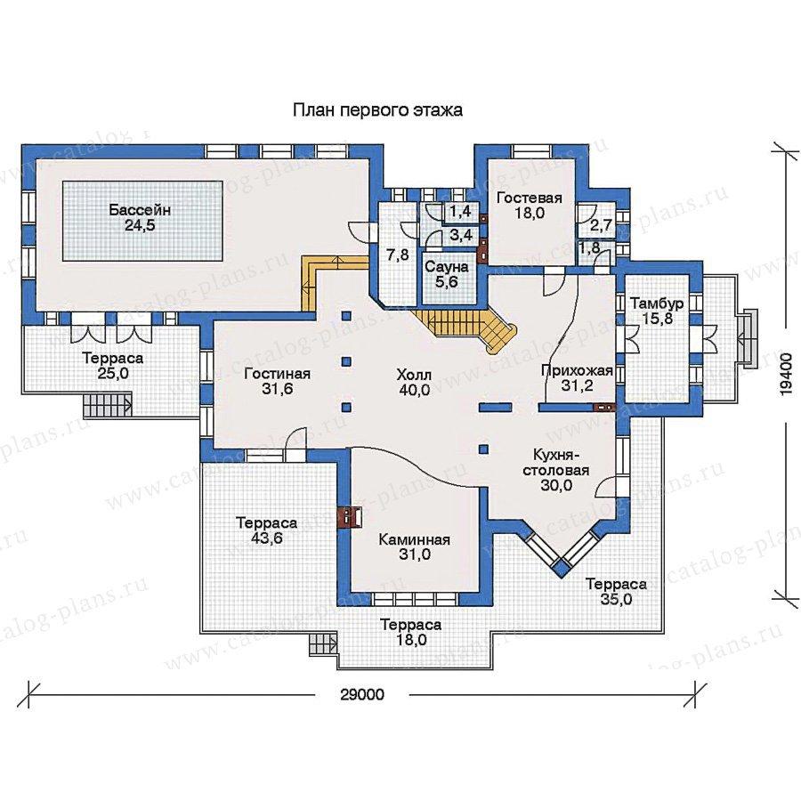 План 1-этажа проекта 32-88