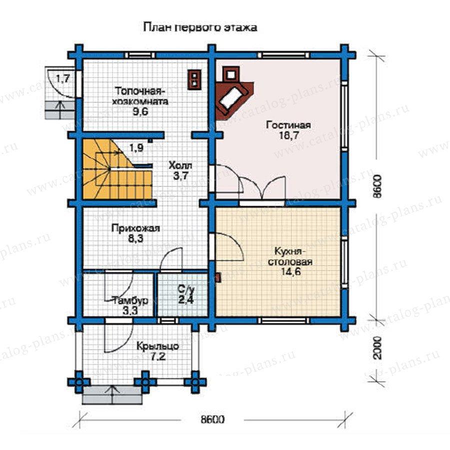 План 1-этажа проекта 12-22