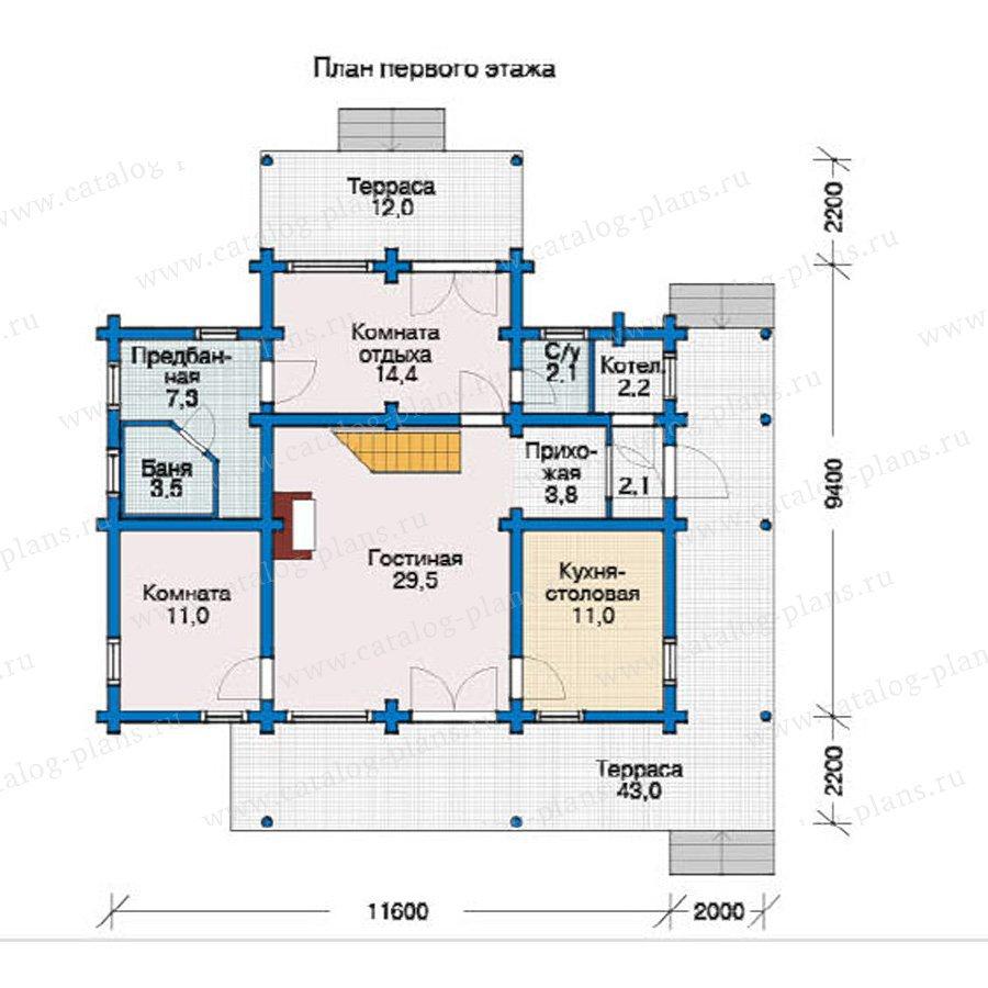 План 1-этажа проекта 12-18