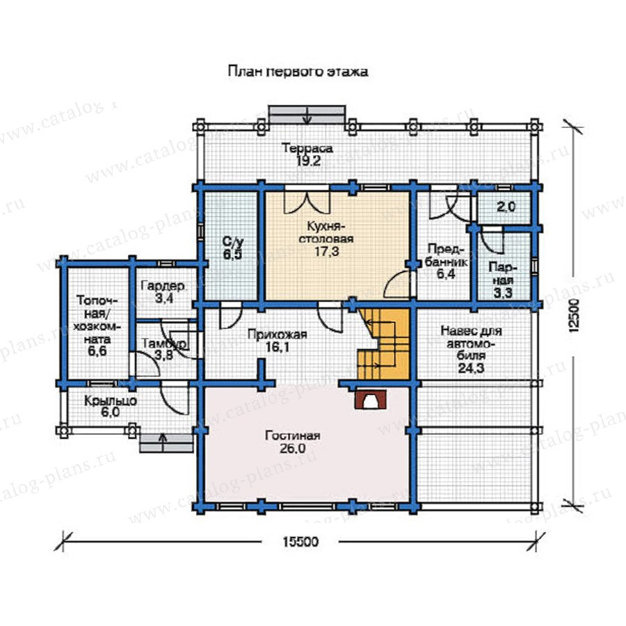 План 1-этажа проекта 12-08