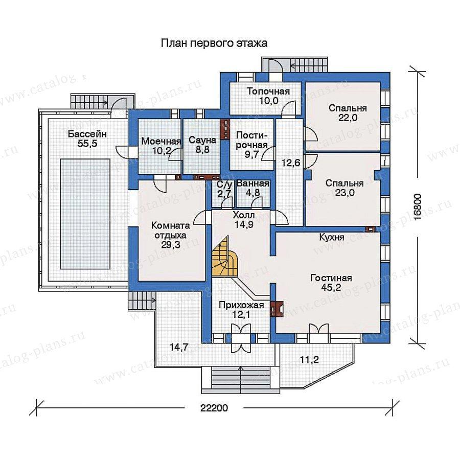 План 1-этажа проекта 32-56