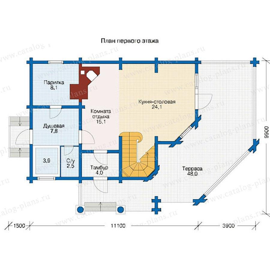 План 1-этажа проекта 12-43