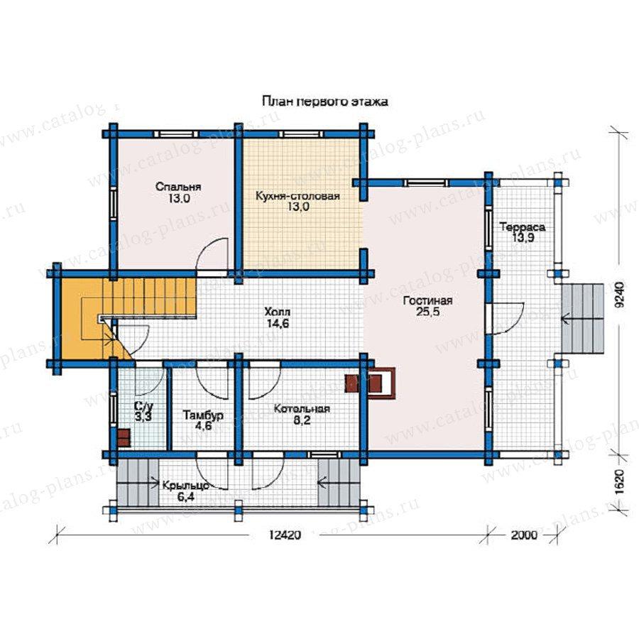 План 1-этажа проекта 12-35