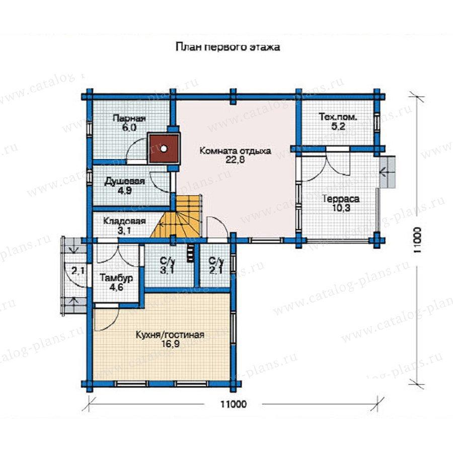 План 1-этажа проекта 12-25