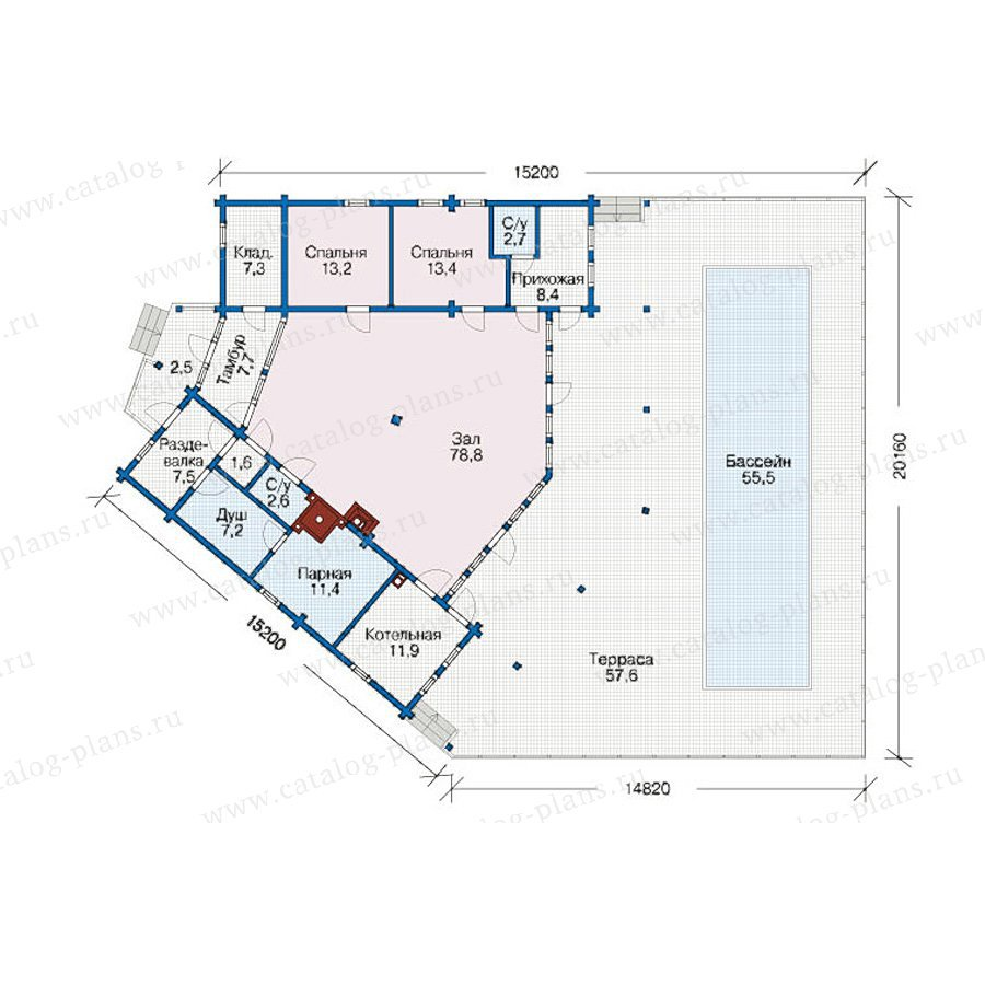 План 1-этажа проекта 12-55