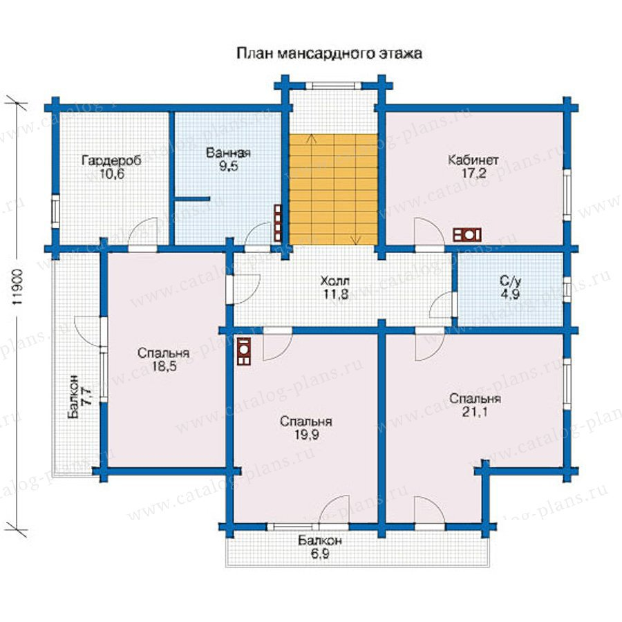 План 2-этажа проекта 12-60