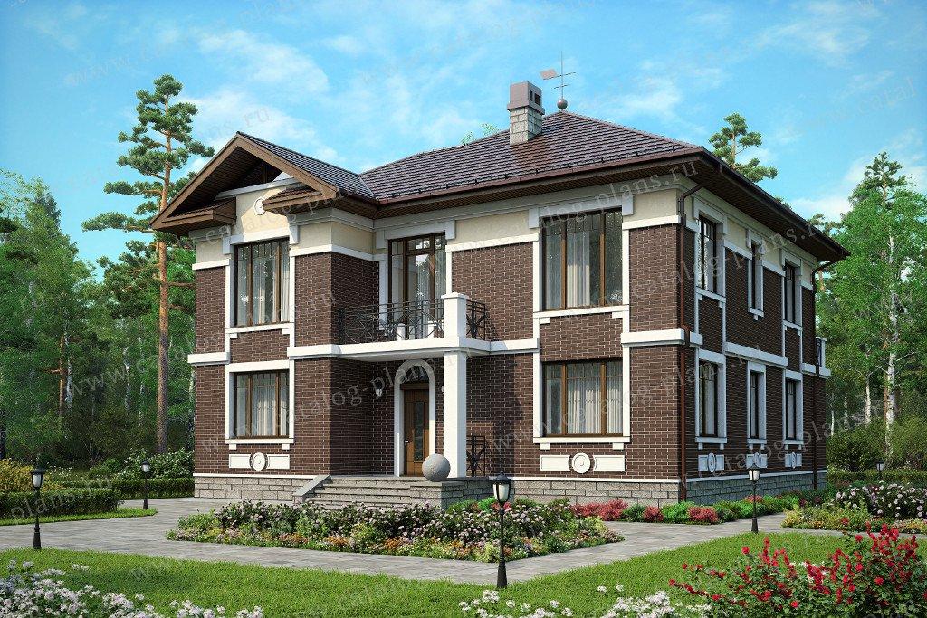 Проект жилой дом #59-95C материал - газобетон, стиль американский