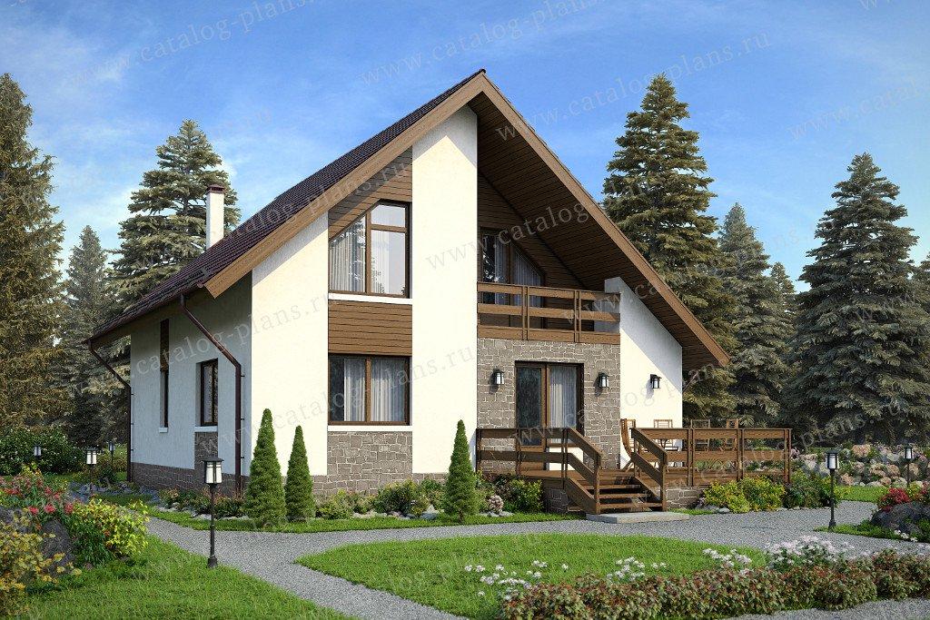 Проект жилой дом #59-97A материал - газобетон, стиль скандинавский