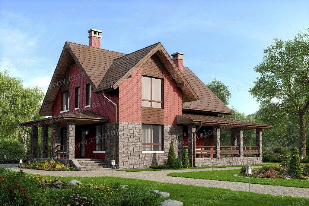 Проект жилой дом #59-62L материал - газобетон, стиль европейский