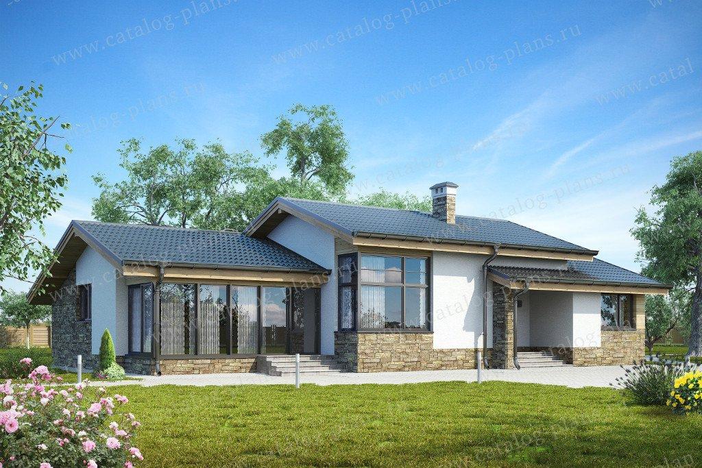 Проект жилой дом #59-22A материал - газобетон, стиль скандинавский