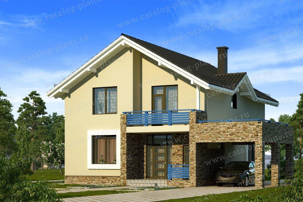 Проект жилой дом #59-35A материал - газобетон, стиль скандинавский
