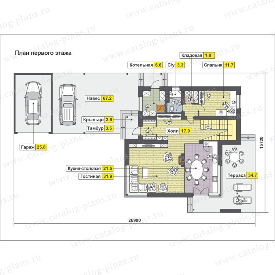 План 1-этажа проекта 59-26B