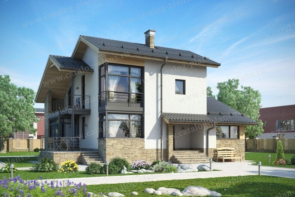 Проект жилой дом #59-23BK материал - кирпич, стиль скандинавский