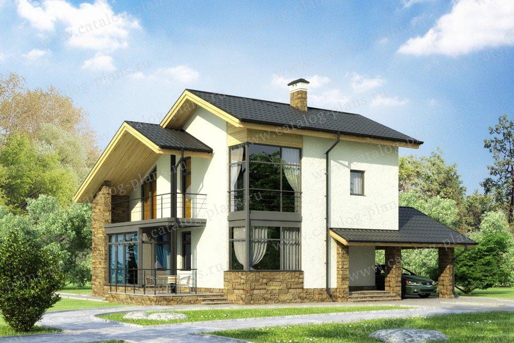 Проект жилой дом #59-23C материал - газобетон, стиль скандинавский