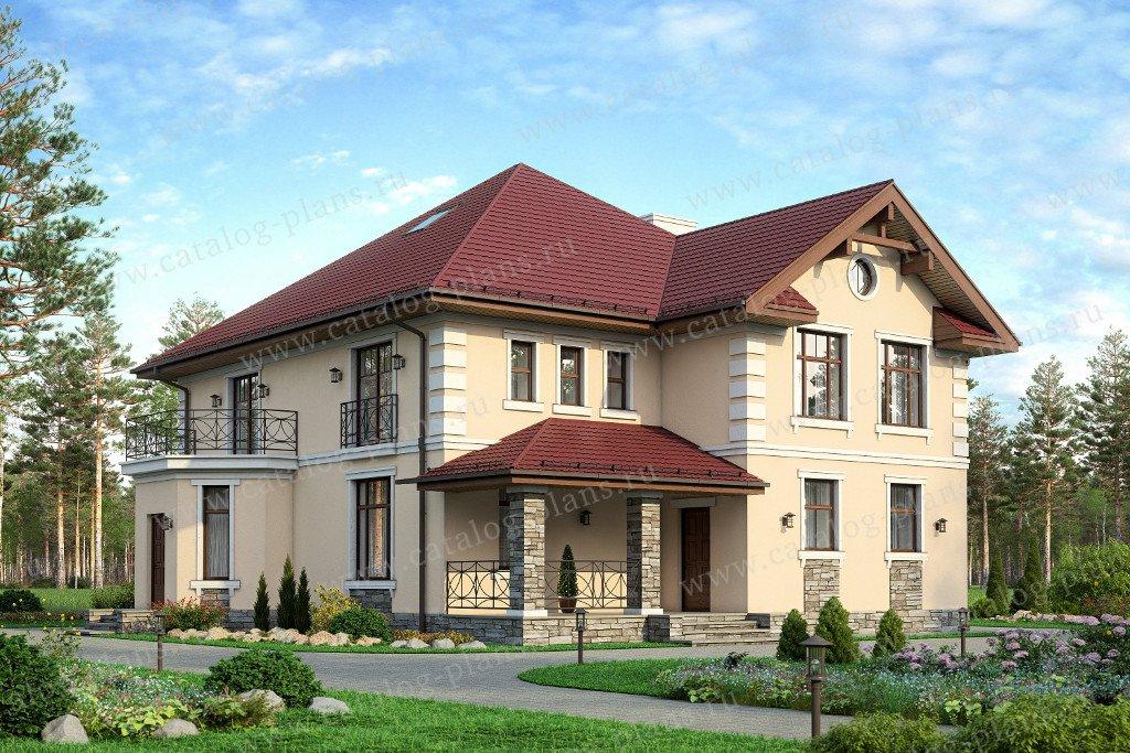 Проект жилой дом #57-33A материал - газобетон, стиль американский