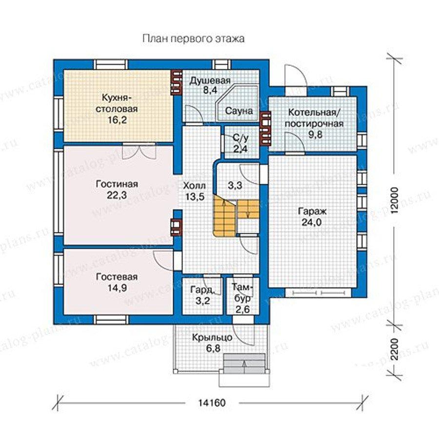 План 1-этажа проекта 57-22L