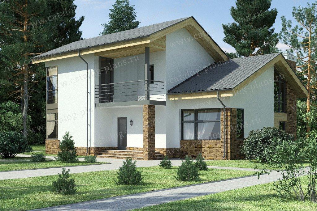 Проект жилой дом #59-24B материал - газобетон, стиль скандинавский