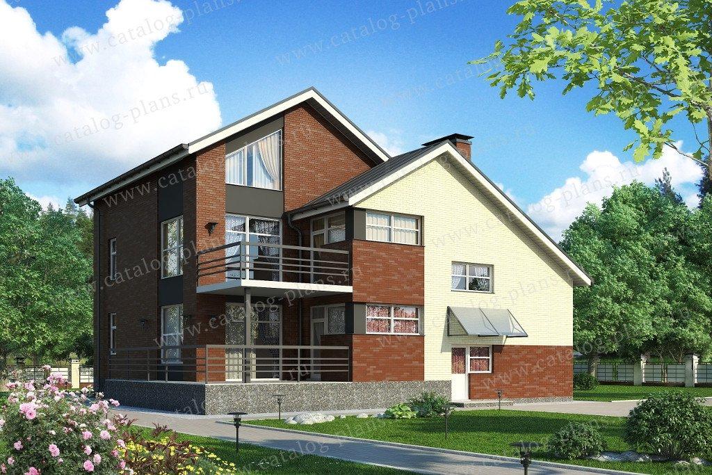 Проект жилой дом #49-88A материал - кирпич, стиль современный